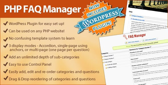 FAQ Manager (Standalone or integrate to Wordpress) - CodeCanyon Item for Sale