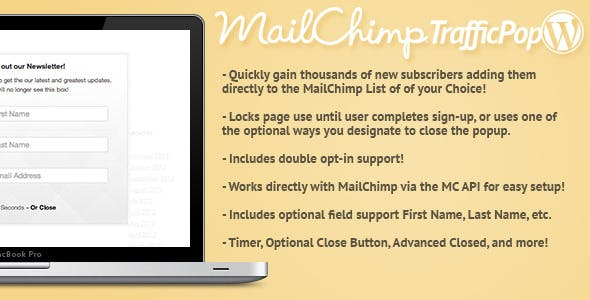 Mail Chimp Traffic Pop for WordPress