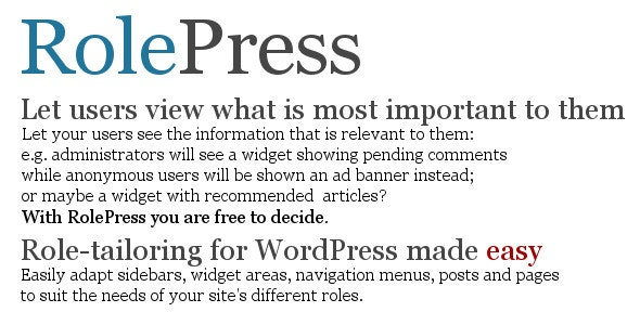 RolePress – Role-Tailoring for WordPress Made Easy - CodeCanyon Item for Sale