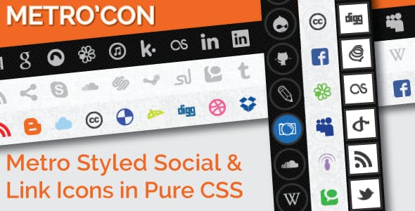 Metro'Con Metro Styled Social and Link Type Icons