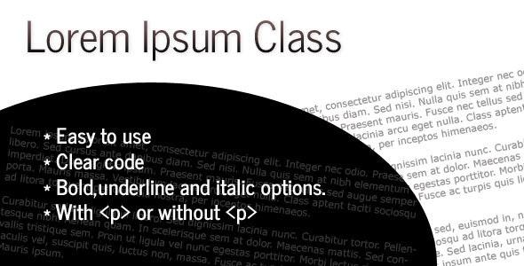 Lorem Ipsum Class - CodeCanyon Item for Sale