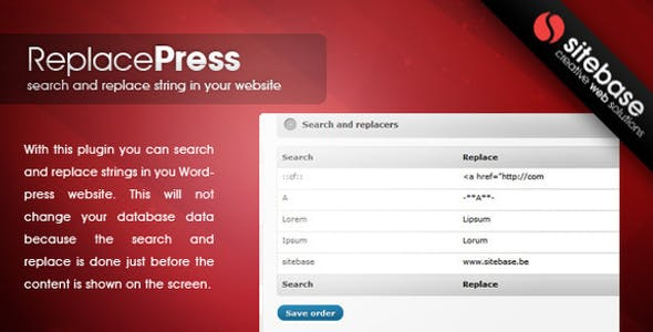 Search and Replace for Wordpress