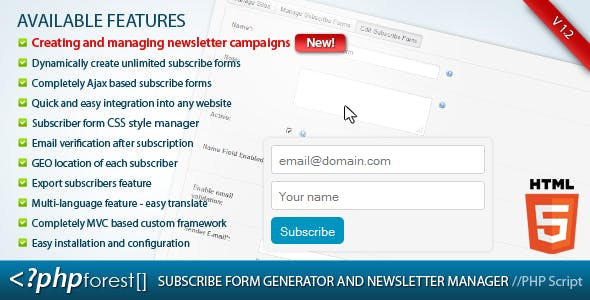 Subscribe forms generator and subscribers manager