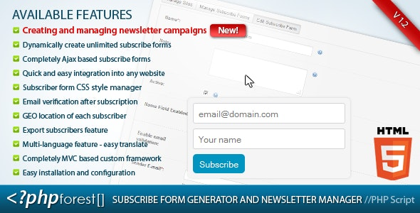 Subscribe forms generator and subscribers manager - CodeCanyon Item for Sale