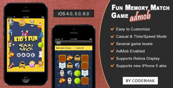 Fun Memory Game for iPhone - AdMob Ads