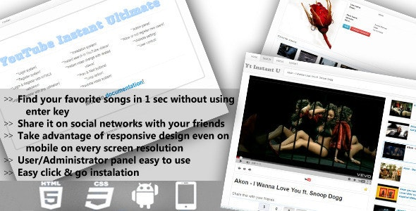 Youtube Video Instant - CodeCanyon Item for Sale