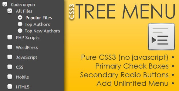 CSS3 Tree Menu - CodeCanyon Item for Sale
