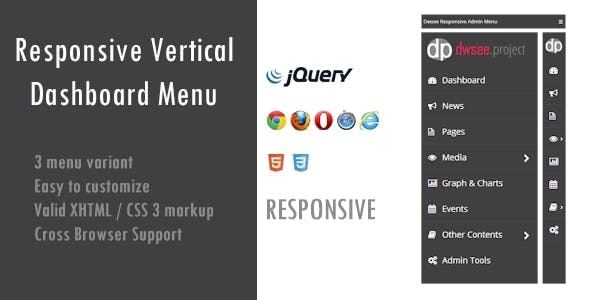 Responsive Vertical Dashboard Menu