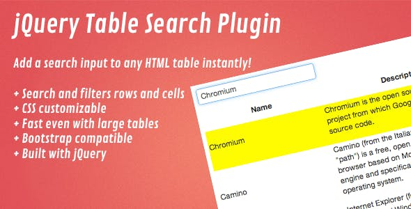 jQuery Table Search Plugin