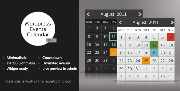 Wordpress Multiple Events Calendar with Countdown - CodeCanyon Item for Sale