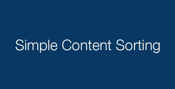 Simple Content Sorting - CodeCanyon Item for Sale