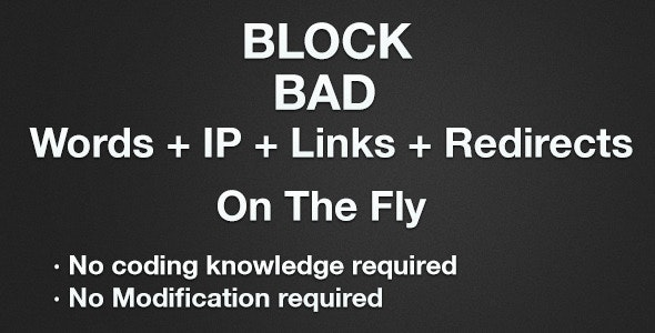 Block Bad Words + IP + Links + Redirects - CodeCanyon Item for Sale