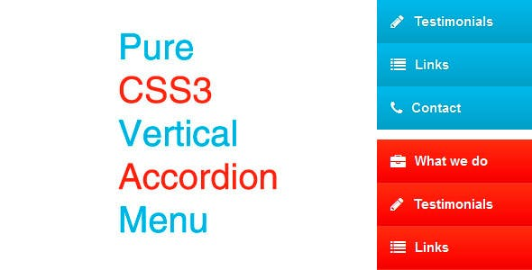 Pure CSS3 Vertical Accordion Menu