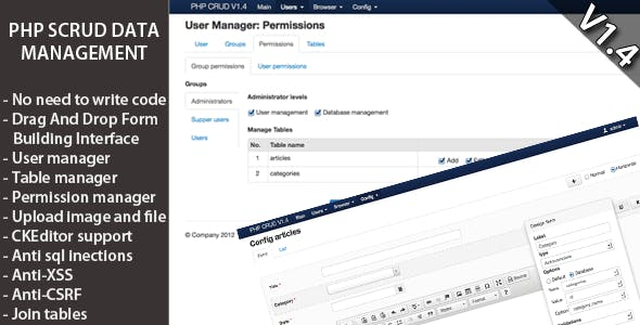 PHP SCRUD Data Management Tool Version 1.4.1