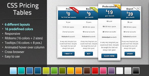 Multicolor :: Pure CSS Pricing Table Pack
