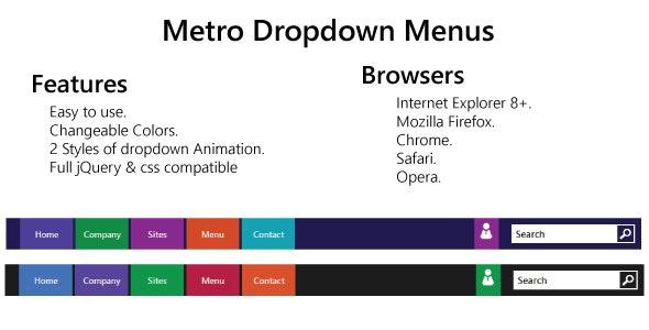 Metro Style Dropdown Menus - CodeCanyon Item for Sale