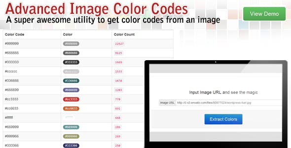 PHP Image to color codes extractor
