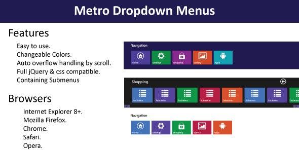 Metro Navigation Menu - CodeCanyon Item for Sale
