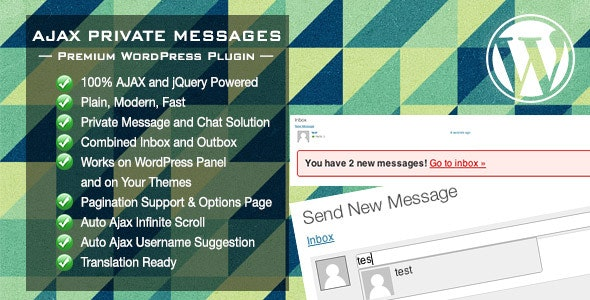 Ajax Private Messages WordPress Plugin - CodeCanyon Item for Sale