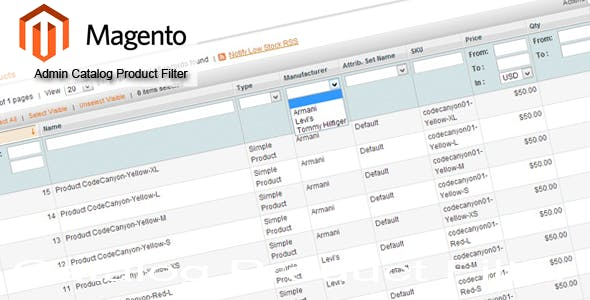 Magento Admin Catalog Product Filter