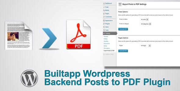 Wordpress Backend Posts to PDF Plugin