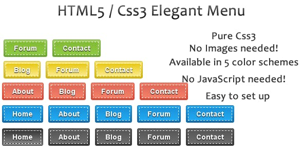 HTML5 & CSS3 Elegant Menu