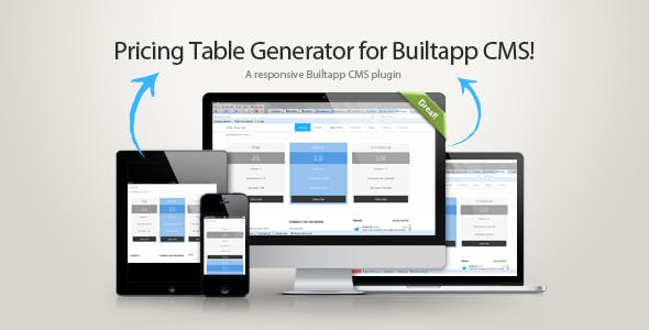 Pricing Table Generator + Paypal for Builtapp CMS