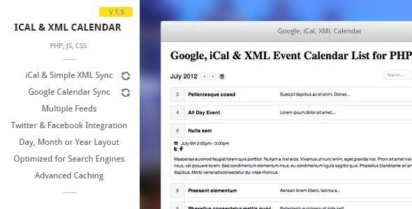Google, iCal & XML Event List Calendar for PHP
