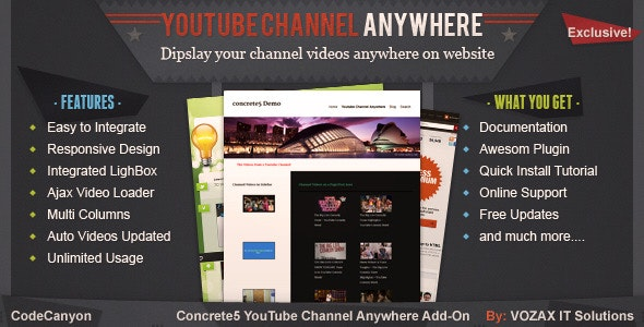 YouTube Channel Anywhere Concrete5 Add-On by vozax | CodeCanyon