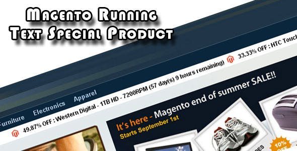 Magento Running Text Special Product