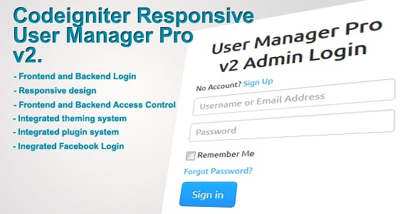 Codeigniter User Manager Pro v2