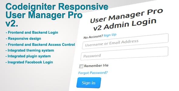 Codeigniter User Manager Pro v2