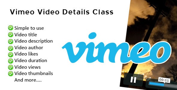 Vimeo Video Details Class - CodeCanyon Item for Sale