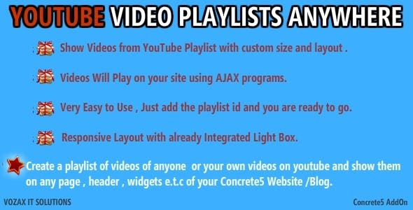 Youtube Playlists Anywhere Concrete5 AddOn