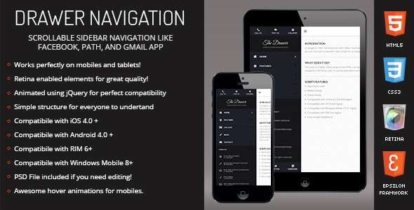 Drawer | Sidebar Navigation for Mobiles & Tablets - CodeCanyon Item for Sale