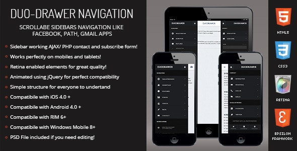 DuoDrawer | Sidebar Navigation for Mobile & Tablet - CodeCanyon Item for Sale