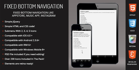 Resepina | Fixed Bottom Menu for Mobiles & Tablets - CodeCanyon Item for Sale