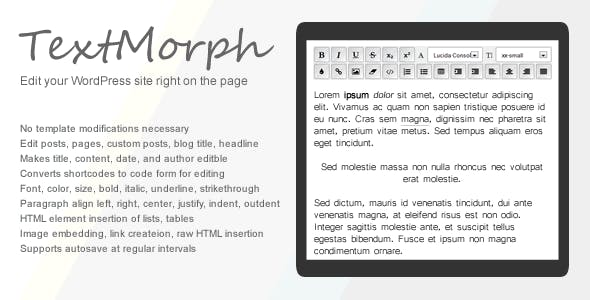 TextMorph: WP On-Page Editor