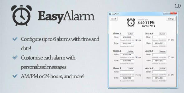 EasyAlarm - Set up custom alarms