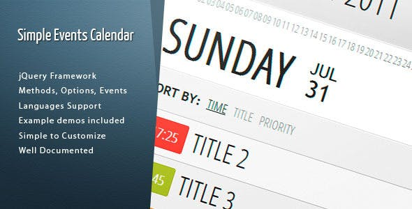 Simple Events Calendar JS        Nulled