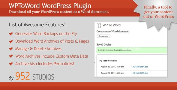 WPToWord | Wordpress to Word Doc Plugin - CodeCanyon Item for Sale