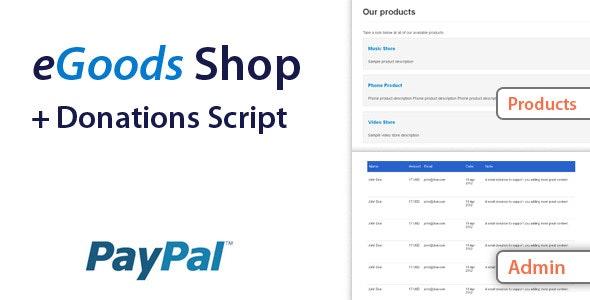 eGoods Shop & Donations Script - CodeCanyon Item for Sale