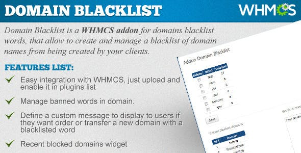 Domains Blacklist - WHMCS ADDON