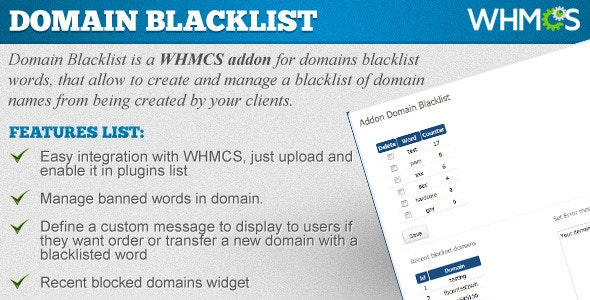 Domains Blacklist - WHMCS ADDON by CodingHero | CodeCanyon