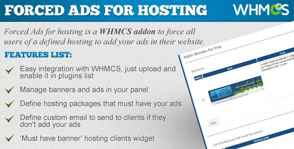 Forced Ads for Hosting - WHMCS ADDON