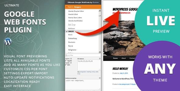 Ultimate Google web fonts - WordPress plugin - CodeCanyon Item for Sale