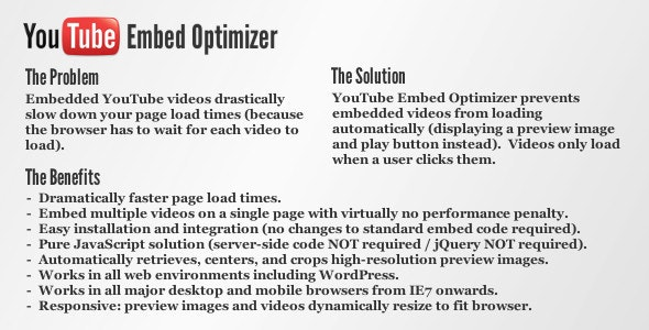 YouTube Embed Optimizer - CodeCanyon Item for Sale