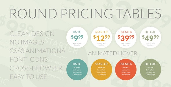 Round Pricing Tables - CodeCanyon Item for Sale
