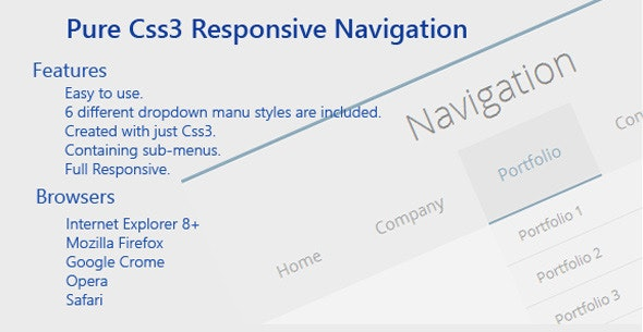 Pure Css3 Responsive Navigation - CodeCanyon Item for Sale
