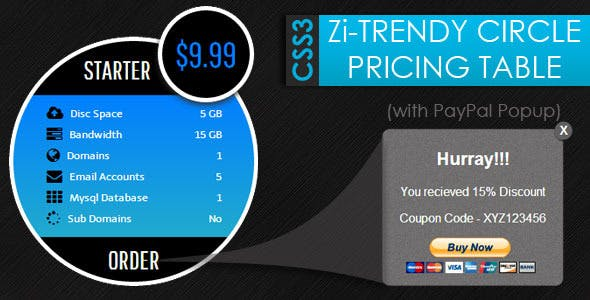 CSS3 Zi-Trendy Cirlce Pricing Tables + Paypal Popu